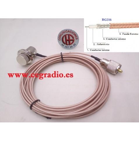 5m Cable Coaxial Baja Perdida RG-316 PL-259 Macho a Base PL-259 Hembra Vista General