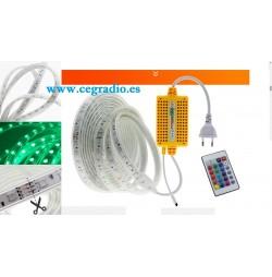 Tira LED Flexible 5050 RGB 220V Multicolor Impermeable Con Mando a Distancia Vista General