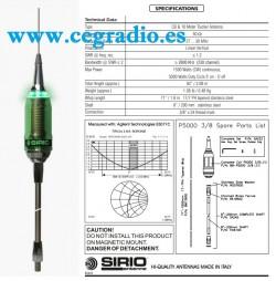 SIRIO PERFORMER 5000 3/8 LED Antena Movil CB 27 MHz 5/8 5000W Vista General